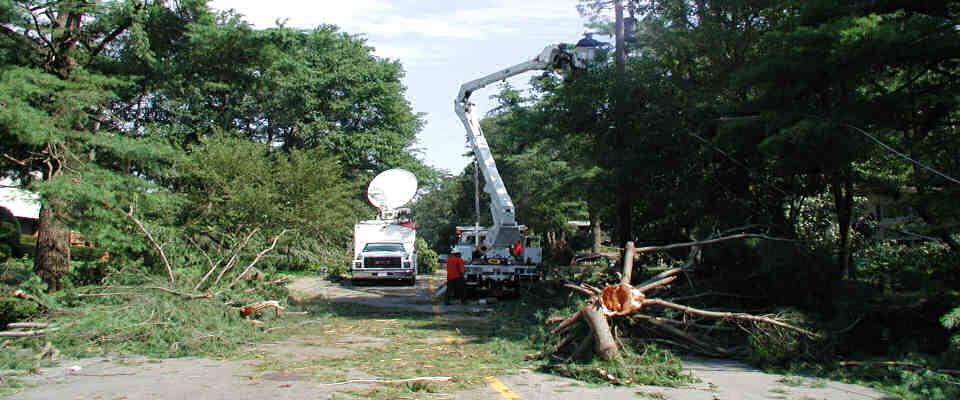 Storm restoration - repairing power lines after a storm
